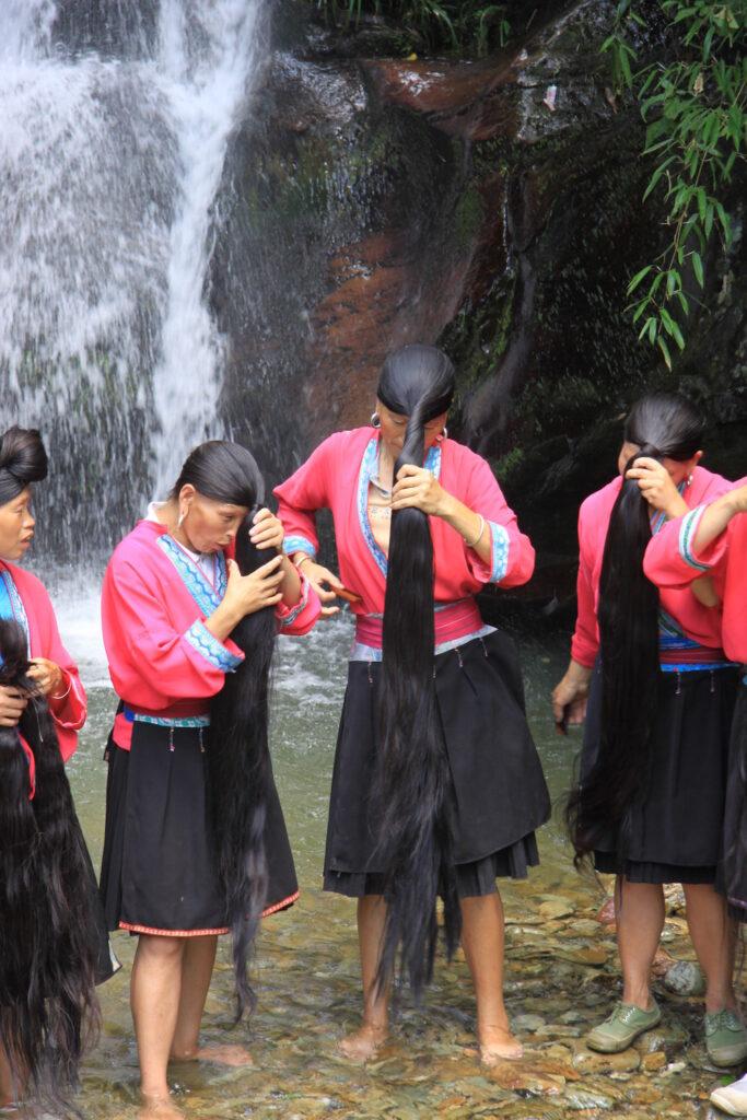 long black hair of Yao women rice water